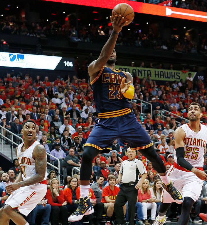 . Cleveland Cavaliers forward LeBron James (23) shoots against the Atlanta Hawks in the second half of Game 3 of the second-round NBA basketball playoff series, Friday, May 6, 2016, in Atlanta. (AP Photo/John Bazemore)