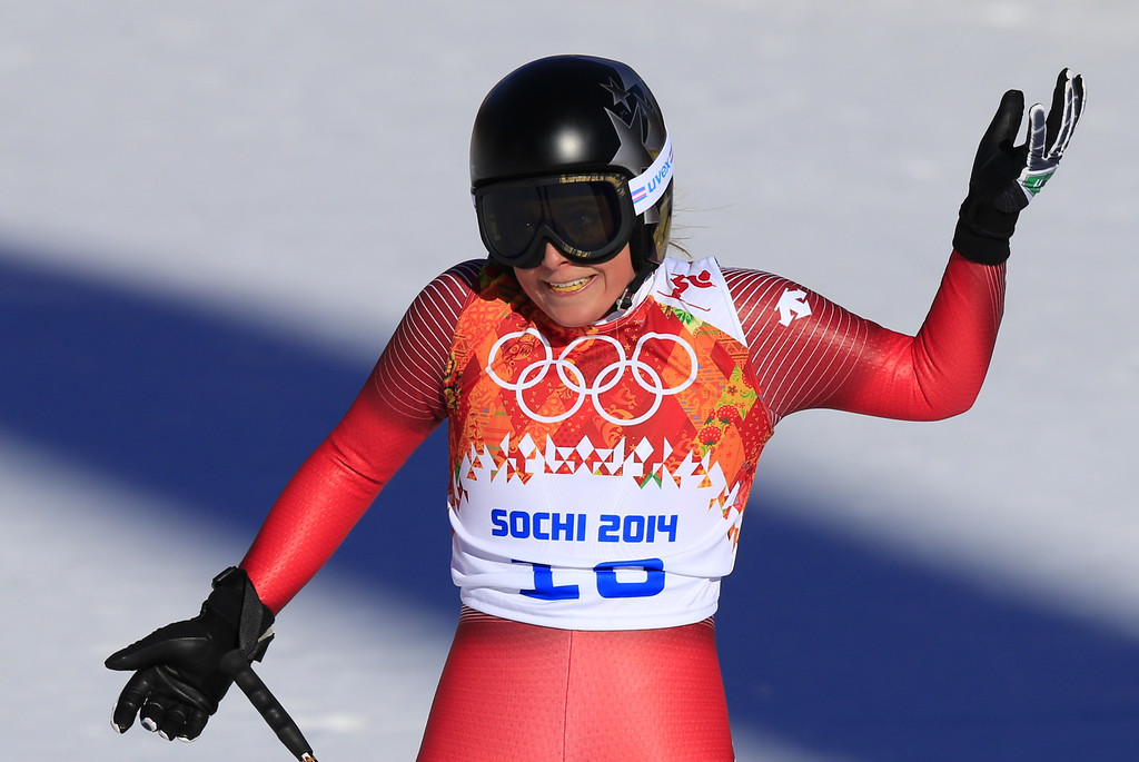 . Switzerland\'s Lara Gut reacts during the Women\'s Alpine Skiing Downhill at the Rosa Khutor Alpine Center during the Sochi Winter Olympics on February 12, 2014.   AFP PHOTO / ALEXANDER KLEINALEXANDER KLEIN/AFP/Getty Images