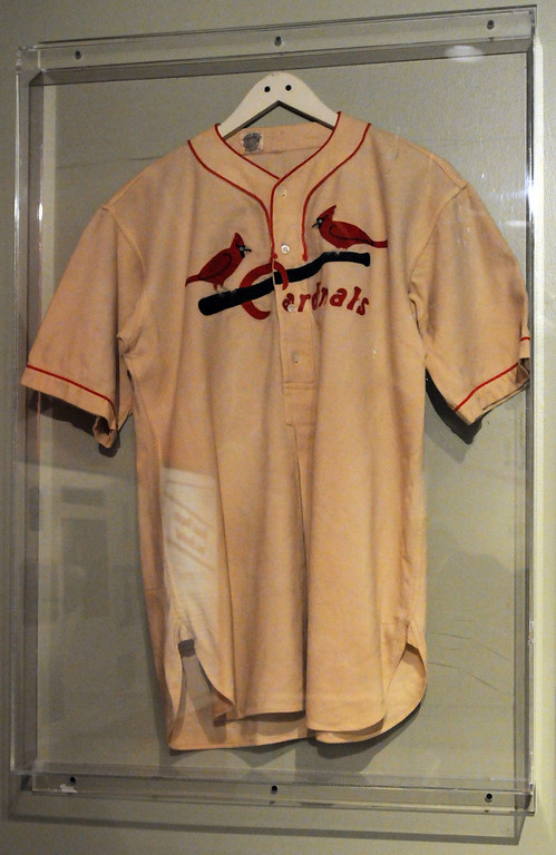 ". A 1952 costume jersey that Ronald Reagan wore in the film ""The Winning Team\"" is included in the \""Baseball!\"" exhibit. The Exhibition opens April 4, 2014 at the Ronald Reagan Presidential Library and Museum.  Running through September 4, 2014, Baseball is a 12,000 square foot exhibition featuring over 700 artifacts, including some of the rarest, historic and iconic baseball memorabilia.  (Photo by Dean Musgrove/Staff Photographer)"