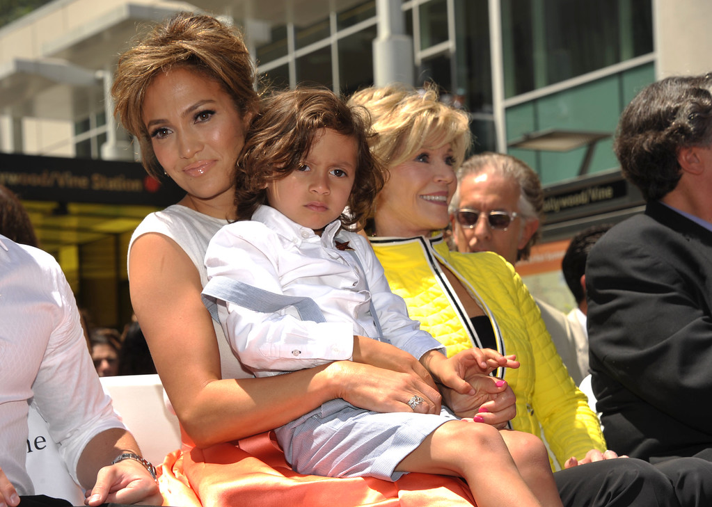 . Jennifer Lopez, Maximilian David Muniz, and Jane Fonda appear at Lopez\' star ceremony on the Hollywood Walk of Fame on Thursday, June 20, 2013 in Los Angeles. (Photo by John Shearer/Invision/AP)