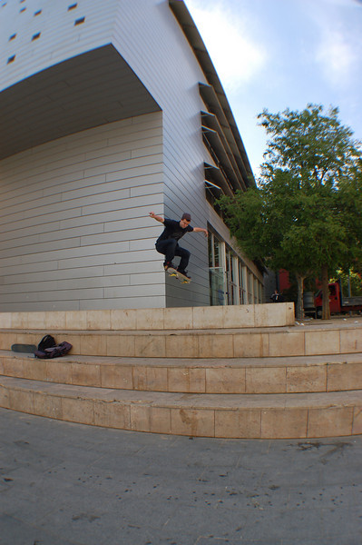 Dan attempting a 'four-set' in Barcelona.  Huge skateboarding culture there.
