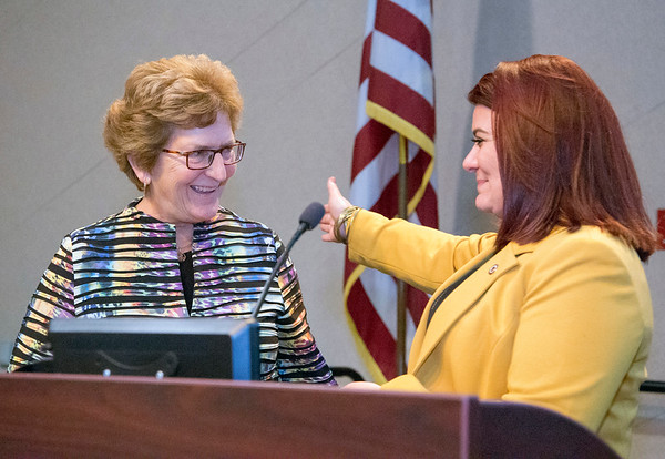 11/21/19 Wesley Bunnell | StaffrrThe Greater New Britain Chamber of Commerce celebrated their 106th year with their annual dinner on Friday night at CCSU. CCARC CEO Anne Ruwett, L, was presented with a proclamation by Mayor Erin Stewart.