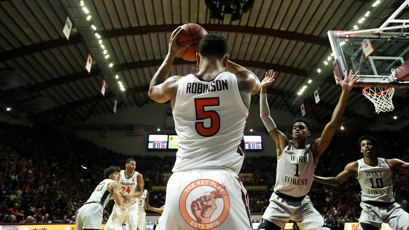 Justin Robinson looks to inbound the ball underneath the Wake basket. (Mark Umansky/TheKeyPlay.com)
