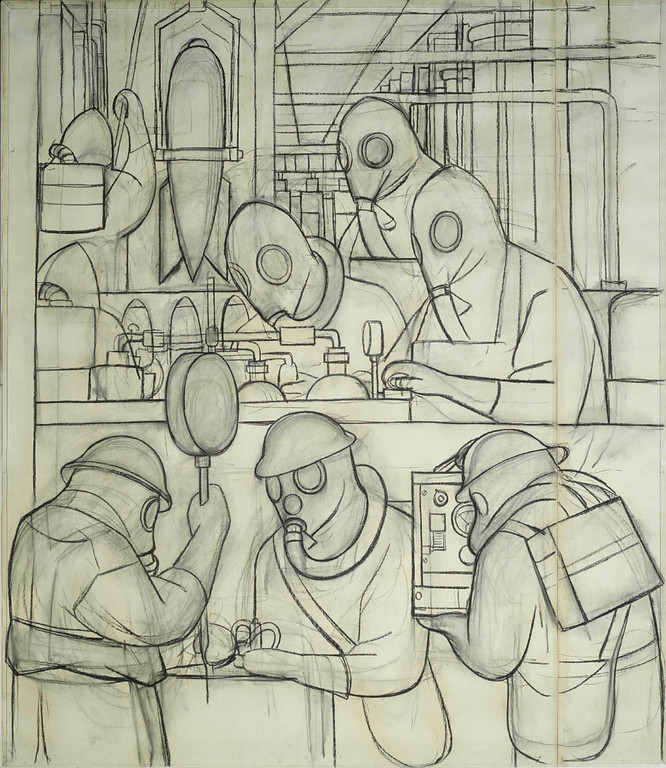 . Preparatory Drawing for Manufacture of Poisonous Gas Bombs (Detroit Industry north wall), Diego Rivera, 1932, charcoal. Detroit Institute of Arts
