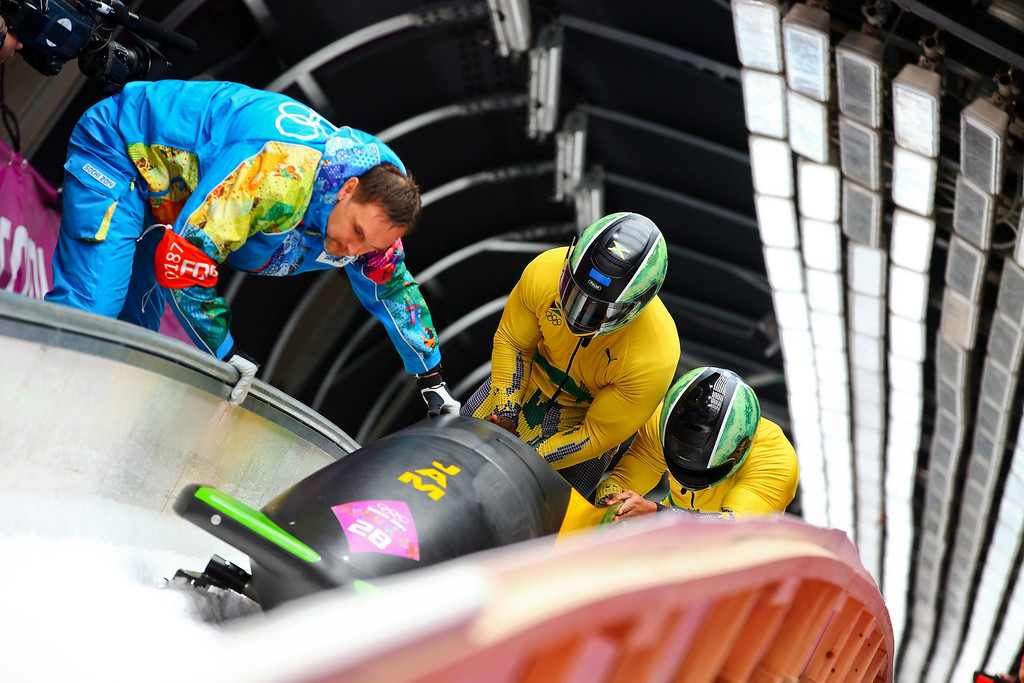 . Winston Watts and Marvin Dixon of Jamaica after the second run of the Two-Man Bobsleigh competition at the Sanki Sliding Center at the Sochi 2014 Olympic Games, Krasnaya Polyana, Russia, on Feb. 16, 2014. EPA/JENS BUETTNER
