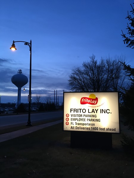 We made it to Beloit, WI for our first evening.  An early morning walk to stretch my legs before the long day of driving made me discover that Beloit happens to be the location of the FritoLay headquarters and factory.  Chips, anyone?