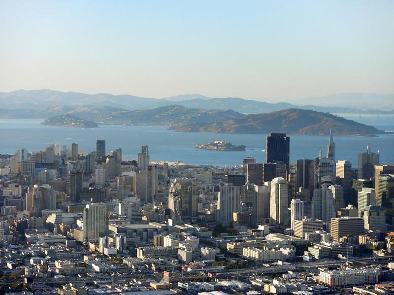 Downtown San Francisco, Alcatraz island in the background.