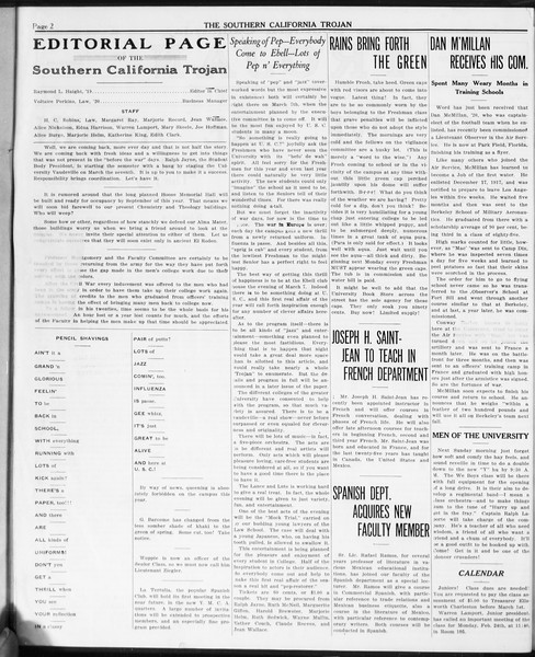 The Southern California Trojan, Vol. 10, No. 1, February 21, 1919