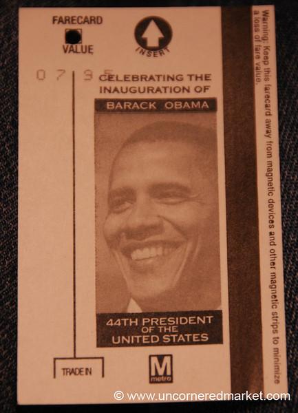 DC Inauguration Metro Card - Washington DC, USA