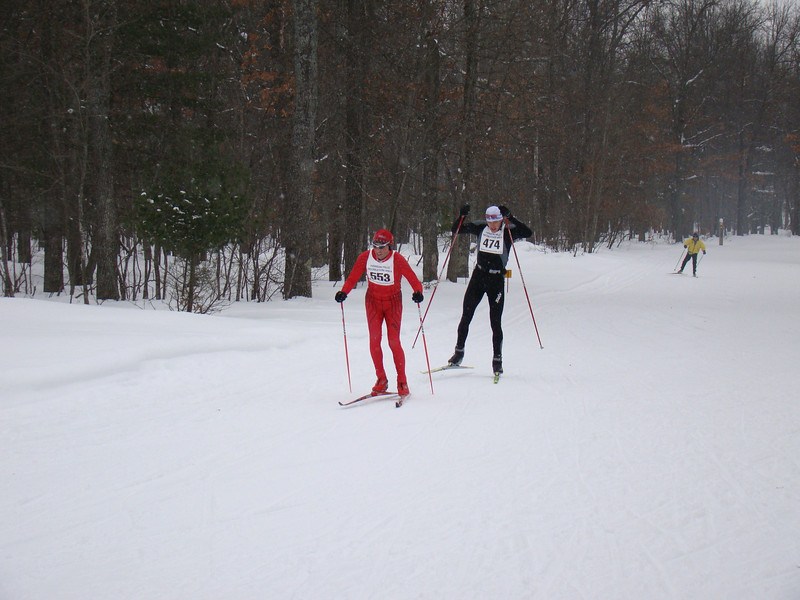 Jim Harrington leads Andy Weddle to the finish. The two would exchange places before the finish line.