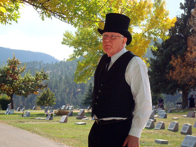 """What a beautiful day!  What a beautiful place!    The irrigation canals that criss-cross Spearfish had their genesis as a result of work done by this man:  Robert Evans (1840-1929).  Jim Hood portrayed the """"Ditch Digger Extraordinaire."""""""