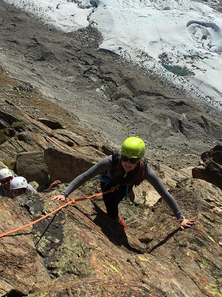Caroline climbing on Riffelhorn