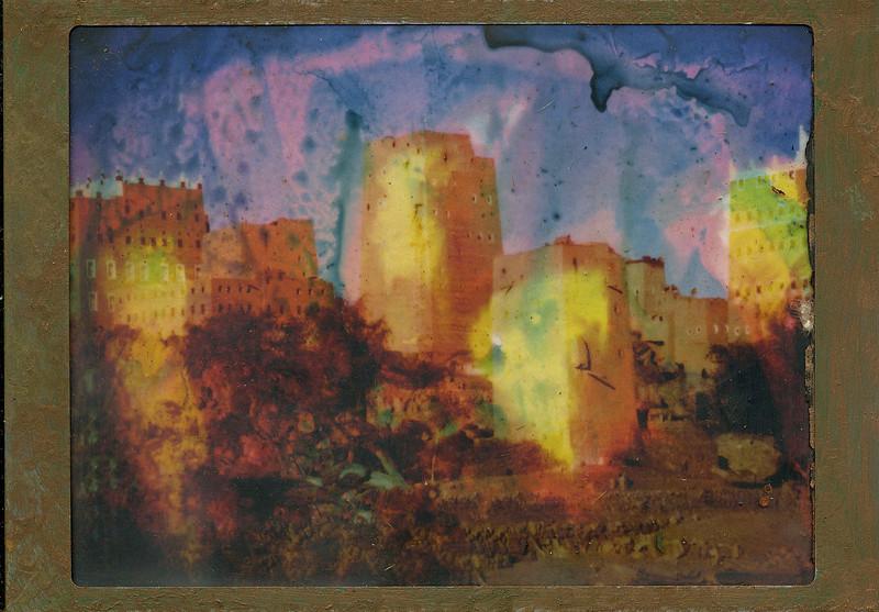 Desert skyline, encaustic on altered photo, 5x7