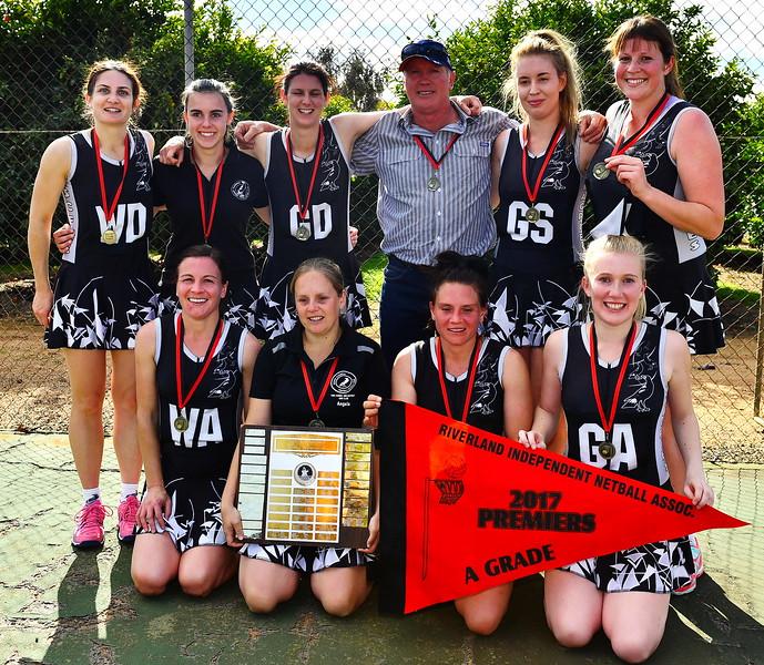 Back row: Julianne Fiebig, Emily Schultz, Kimberley McGorman (captain), Peter Graetz (coach), Katie Day, Sam Baker (best on court)