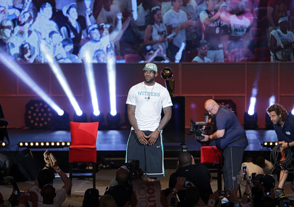 . LeBron James of the Miami Heat attends the NBA Championship victory rally at the AmericanAirlines Arena on June 24, 2013 in Miami, Florida. The Miami Heat defeated the San Antonio Spurs in the NBA Finals.  (Photo by Alexander Tamargo/Getty Images)
