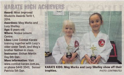 Meg & Lucy Win Combat Karate Noosa Award