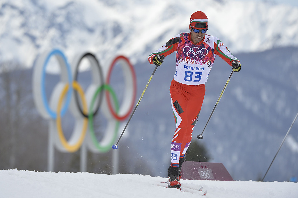 . Iran\'s Seyed Sattar Seyd competes in the Men\'s Cross-Country Skiing 15km Classic at the Laura Cross-Country Ski and Biathlon Center during the Sochi Winter Olympics on February 14, 2014 in Rosa Khutor near Sochi. AFP PHOTO / ODD ANDERSEN/AFP/Getty Images