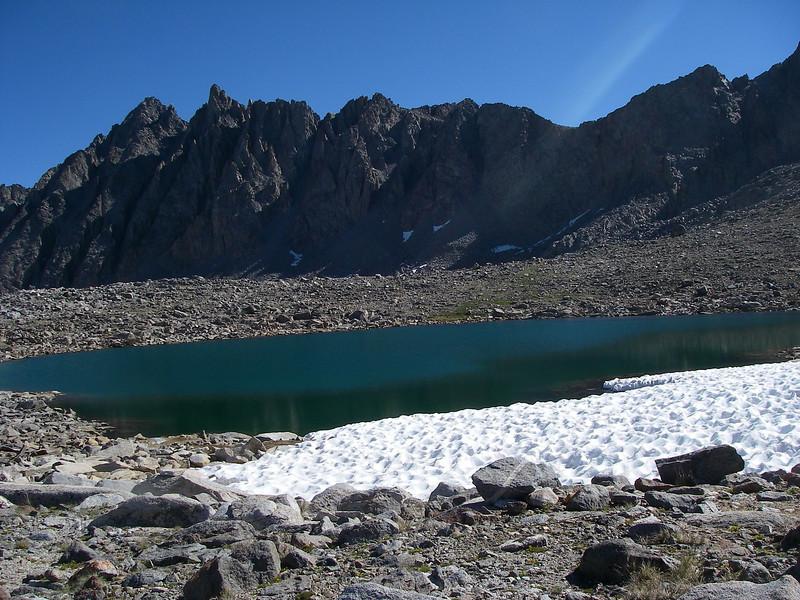 Lake just below Bishop Pass (3,649 m = 11,972 ft)