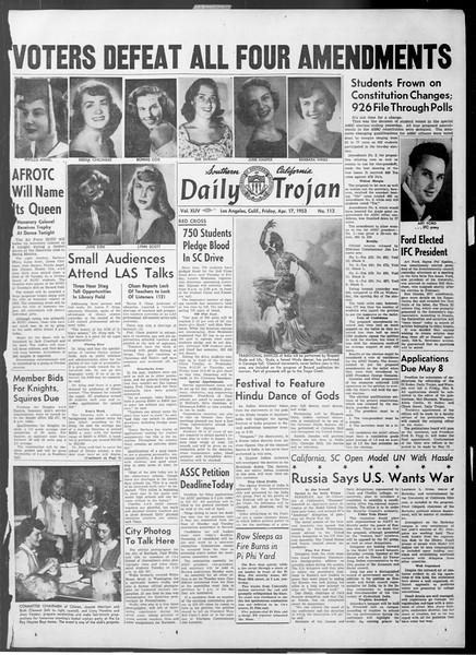 Daily Trojan, Vol. 44, No. 113, April 17, 1953