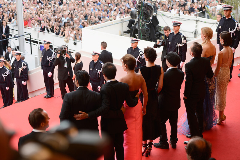 """. (L-R) Screenwriter and Producer Arash Amel , a guest, Jeanne Balibar, director Olivier Dahan, Tim Roth, Nicole Kidman and Paz Vega attend the Opening ceremony and the \""""Grace of Monaco\"""" Premiere during the 67th Annual Cannes Film Festival on May 14, 2014 in Cannes, France.  (Photo by Ian Gavan/Getty Images)"""