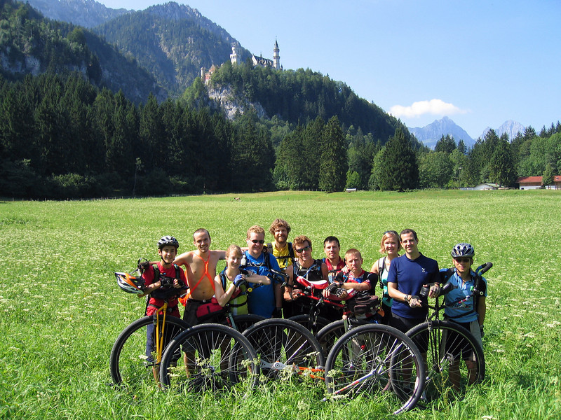 [LG] August 1, 2005 (70km/626m): AUT starts in Füssen, Germany, under the famous Neuschwanstein Castle. From left: Beau, David, Kim, Joe, Nathan, Scot, Bronson, Andy, Irene, John and Ken. Not pictured: the support team of Connie, Dana and Laura (plus Karl for the last week).  Maps/GPS/Heart rate: at Motionbased in GoogleEarth at Google Maps