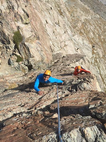Neel and Bennitt climbing Egge
