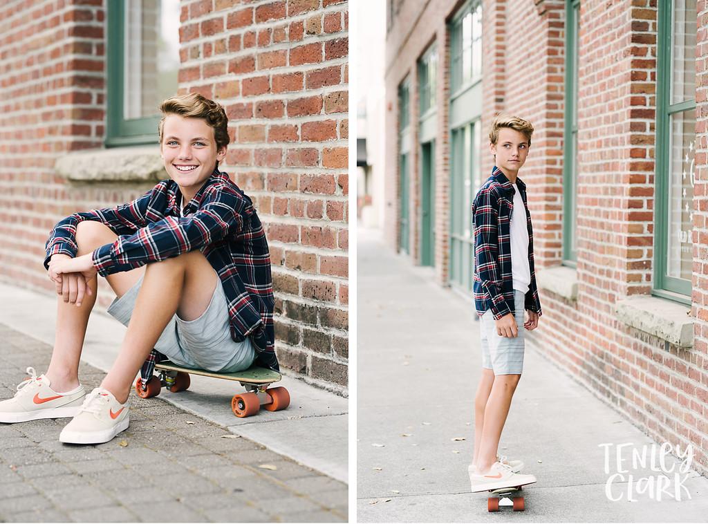 Skateboarding. Playful teen boy model headshot portfolio commercial lifestyle photoshoot by Tenley Clark Photography. Pleasanton, CA.