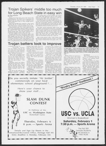 Daily Trojan, Vol. 100, No. 15, January 30, 1986