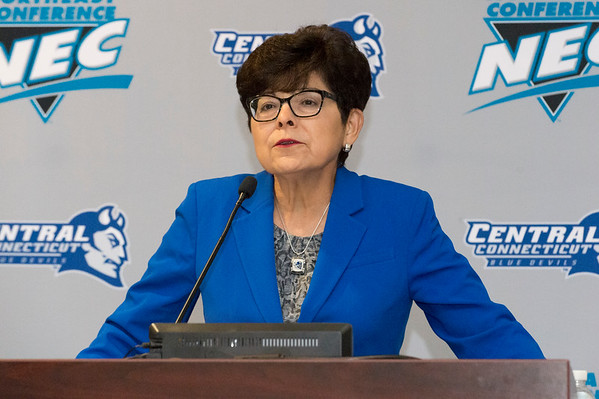 10/17/19 Wesley Bunnell | StaffrrRyan McCarthy was officially named head football coach by CCSU during a press conference on Thursday afternoon. Dr. Zulma Toro speaks during the conference.