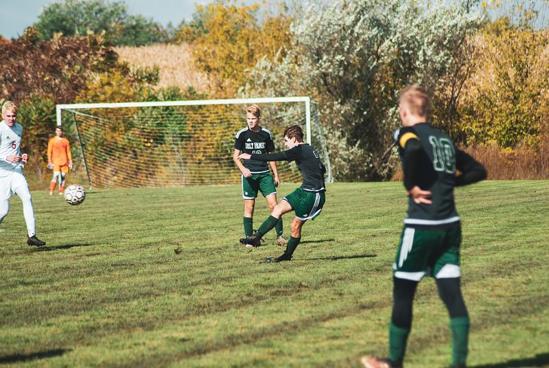 Holy Family Varsity Soccer vs. Mound Westonka Oct 13, 2018: Finn Dowling '21 (7)