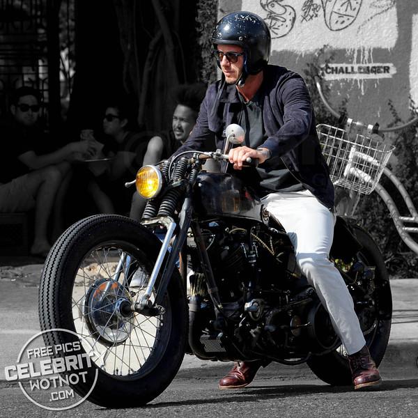Easy Rider! David Beckham On Custom Vintage Motorbike