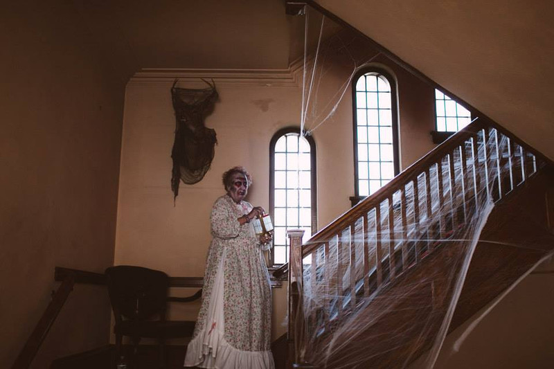 . Photo by Dani Almond A ghoul makes her way up the stairway at The Temple of Terror, open at the Pottstown Masonic Lodge, 20 N. Franklin St. on Oct. 19 and 20; and Oct. 26 and 27. It costs $15 and is full of mystery and mayhem.