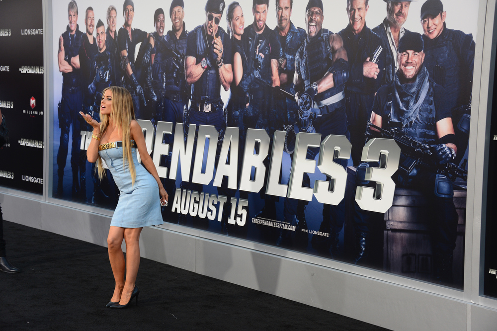 """. Model Carmen Electra attends Lionsgate Films\' \""""The Expendables 3\"""" premiere at TCL Chinese Theatre on August 11, 2014 in Hollywood, California.  (Photo by Frazer Harrison/Getty Images)"""