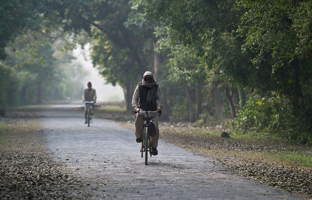 . Indian villagers ride their cycles through the forest near the village of Barahpur in Bijnor District some 120kms north-east of New Delhi on February 2, 2014.  Since December 29, 2013, the same tiger is believed to have killed eight people living near the national park which covers 521 square kilometers in the northern states of Uttar Pradesh and Uttarakhand.  PRAKASH SINGH/AFP/Getty Images