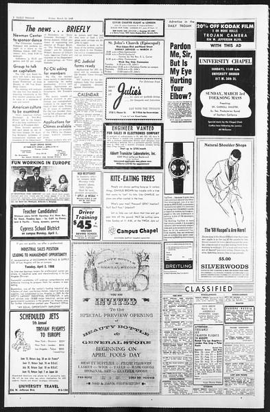 Daily Trojan, Vol. 59, No. 101, March 29, 1968