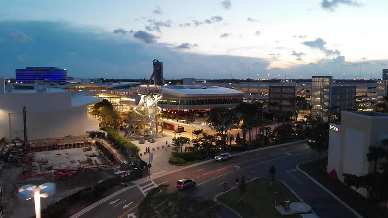 Aerial footage Aventura Mall slide tower