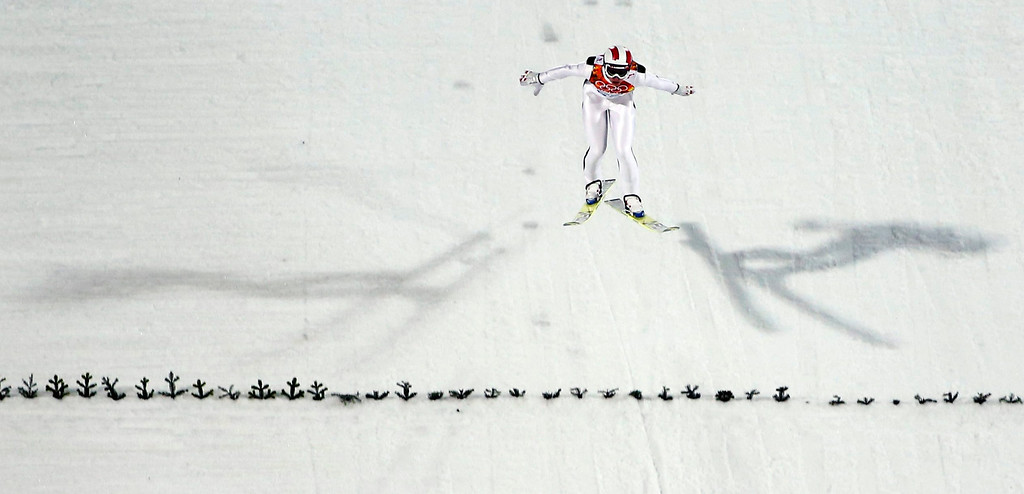 . Gregor Schlierenzauer of Austria competes in the Men\'s Large Hill Individual Qualification Round in RusSki Gorki Jumping Center at the Sochi 2014 Olympic Games, Krasnaya Polyana, Russia, 14 February 2014.  EPA/VALDRIN XHEMAJ