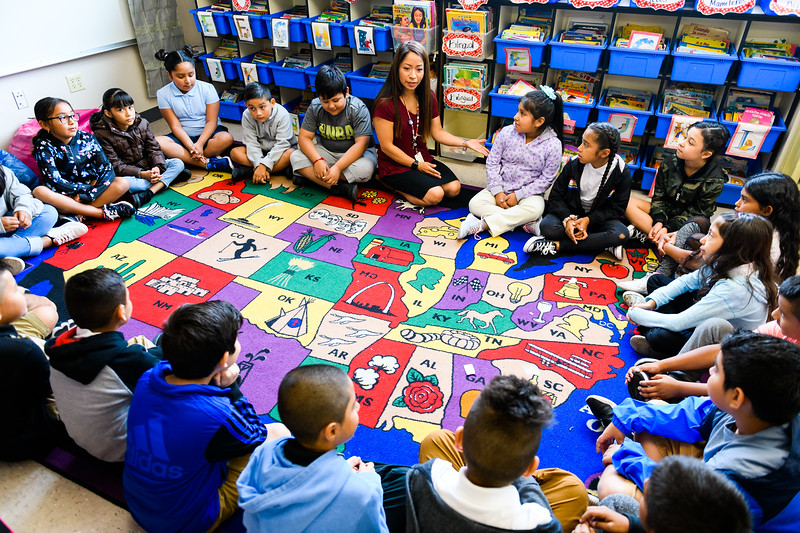 Third-grade teacher Joana Cruz begins the day with her class. Back to school day at Hallman Elementary School on Wednesday, September 4, 2019 in Salem, Ore.
