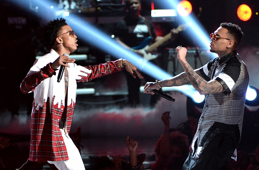 . Singers August Alsina (L) and Trey Songz perform onstage during the BET AWARDS \'14 at Nokia Theatre L.A. LIVE on June 29, 2014 in Los Angeles, California.  (Photo by Kevin Winter/Getty Images for BET)