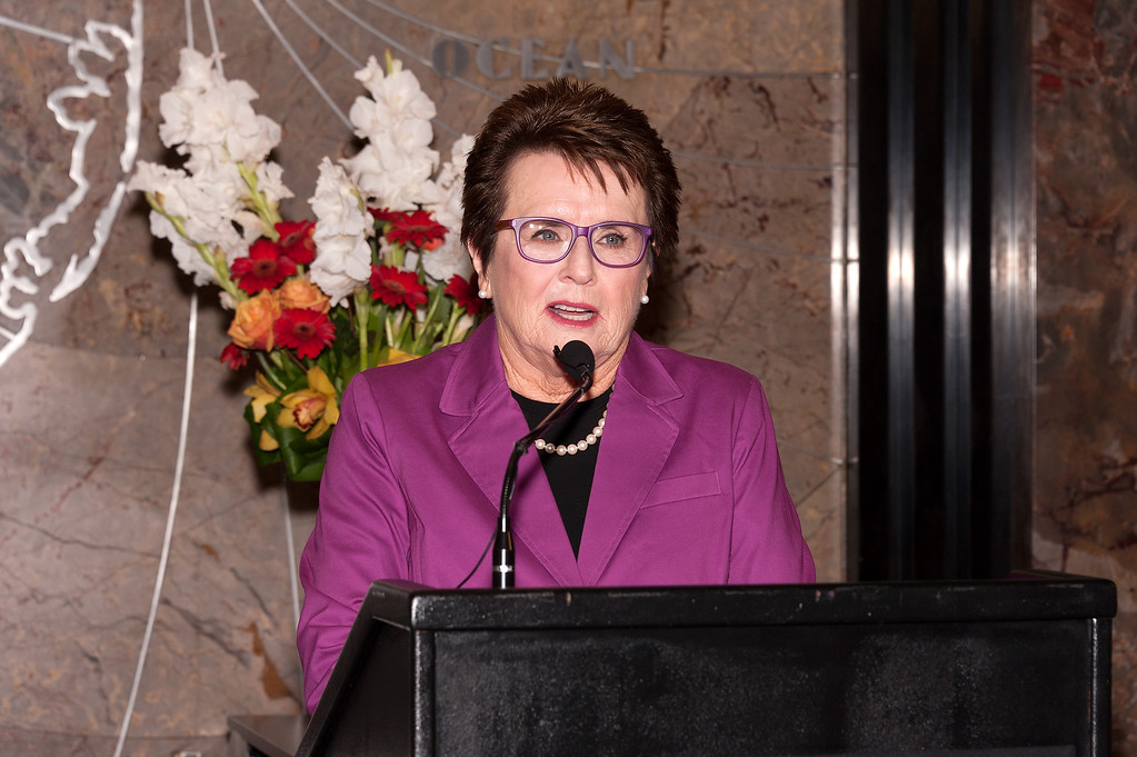 . NEW YORK, NY - AUGUST 22:  Women\'s Tennis Association founder Billie Jean King visits The Empire State Building on August 22, 2013 in New York City.  (Photo by D Dipasupil/Getty Images)
