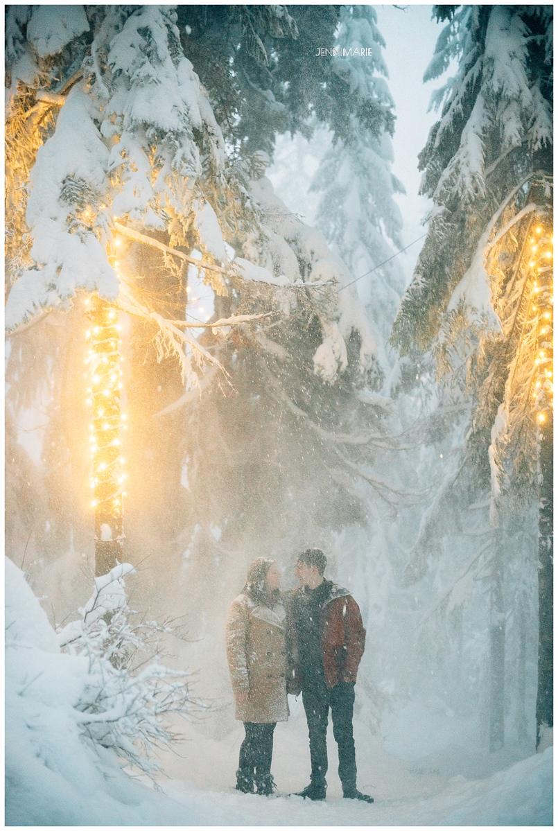 Snowy Grouse Mountain Engagement Photos