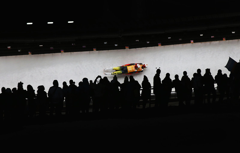 . Tobias Wendl and Tobias Arlt of Germany make a run during the Luge Relay on Day 6 of the Sochi 2014 Winter Olympics at Sliding Center Sanki on February 13, 2014 in Sochi, Russia.  (Photo by Alex Livesey/Getty Images)