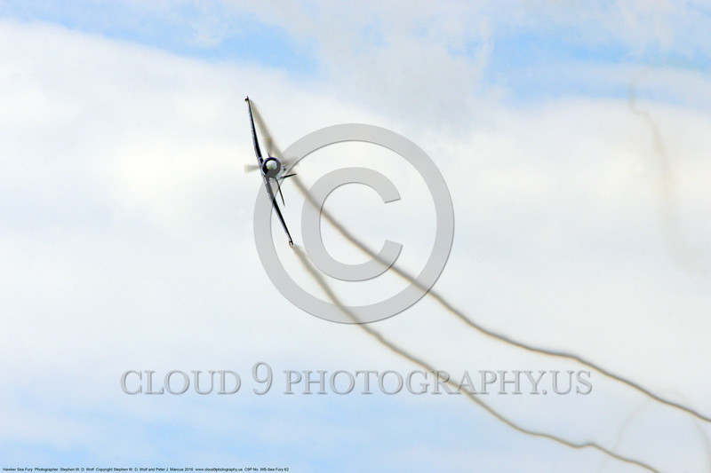 WB-Sea Fury 00062 A flying blue Hawker Sea Fury fighter with contrails warbird picture by Stephen W. D. Wolf.JPG