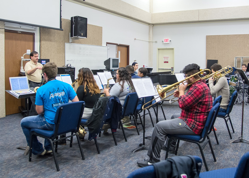 The students of Dr. Brian Thacker's Jazz course practice different pieces of music.