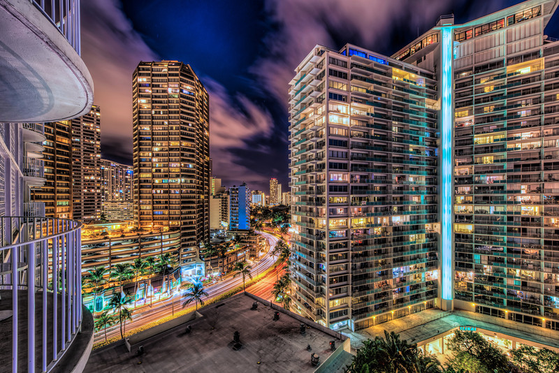 An HDR of the Honolulu city lights taken from our room.  Camera NIKON D800  ISO 100  Focal Length 14mm  Aperture f/8  Exposure Time 15s , 30s, 60s