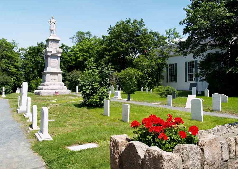 "SAINT SAVIOUR'S EPISCOPAL CHURCH Bar Harbor, Maine  The large statue at the far end of the cemetery reads, ""Dedicated To The Sons Of Eden."" Long before Bar Harbor became one of the most popular destinations on the East Coast, the town was known simply as Eden, or Eden Village."