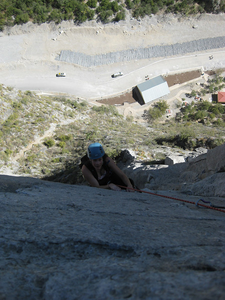 Cath Seconding on Space Boys our First climb In Mexico 12 Pitches