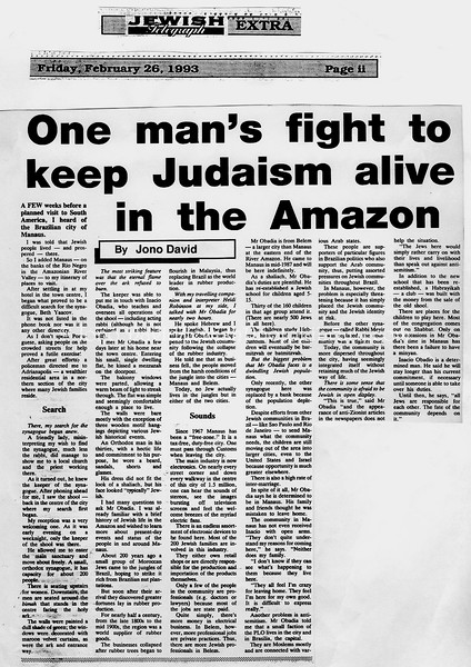 Amazon Jewish Community. Jewish Telegraph. Manchester, England. Feb 26, 1993