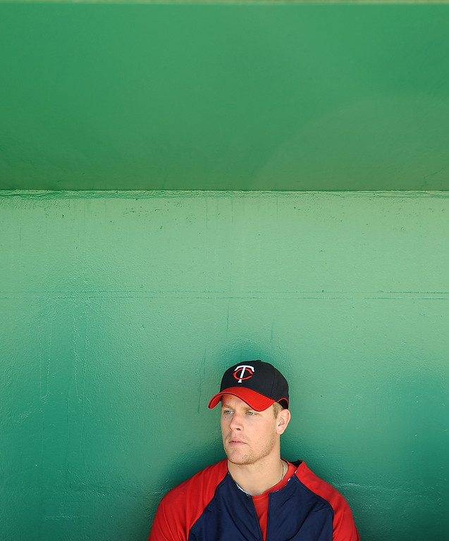 . Twins first baseman Justin Morneau talks about his leadership role on the team and his recent wedding while giving an interview to reporters during spring training on Saturday,  February 21, 2009 in Fort Myers, Fl. (Photo by Chris Stanfield/ For the Pioneer Press)