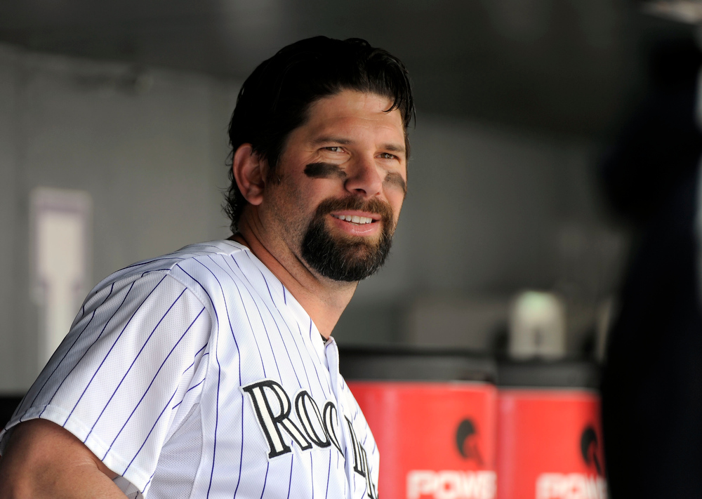 . Colorado Rockies first baseman Todd Helton (17) looks on from the dugout during their game against the  Los Angeles Dodgerts Sunday, June 3, 2012 at Coors Field.  John Leyba, The Denver Post
